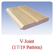 <h1>V-Joint (17/19 Pattern)</h1> 			For interior panelling on the ceiling and/or walls, similar to V-Joint (17/17 Pattern) but with and additional center V-groove on the one face of the board to give customers an option in design. Available in white pine as well as white cedar.<br /> 			        <table summary=&quot; &quot; class=&quot;datatable&quot;>         <caption></caption>         <tr>            <th scope=&quot;col&quot;>Board Size</th>           <th scope=&quot;col&quot;>Actual Coverage</th>           <th scope=&quot;col&quot;>Available Grades</th>         </tr>         <tr>                     <td class=&quot;middle&quot;>1 X 6</td>           <td class=&quot;middle&quot;>5/8&quot; X 5 1/4&quot;</td>           <td class=&quot;middle&quot;>Premium, Cottage</td>         </tr>               </table>