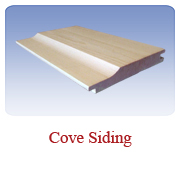 <h1>Cove Siding (1 Pattern)</h1> 			Also called Novelty siding, this pattern is a great look for exterior siding on camps, cottages, sheds or garages.<br /> 			        <table summary=&quot; &quot; class=&quot;datatable&quot;>         <caption></caption>         <tr>            <th scope=&quot;col&quot;>Board Size</th>           <th scope=&quot;col&quot;>Actual Coverage</th>           <th scope=&quot;col&quot;>Available Grades</th>         </tr>         <tr>                     <td class=&quot;middle&quot;>1 X 6</td>           <td class=&quot;middle&quot;>3/4&quot; X 5 1/4&quot;</td>           <td class=&quot;middle&quot;>Premium, Cottage</td>         </tr>         <tr>           <td class=&quot;middle&quot;>1 X 8</td>           <td class=&quot;middle&quot;>3/4&quot; X 7 1/4&quot;</td>           <td class=&quot;middle&quot;>Premium, Cottage</td>         </tr>       </table>