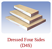 <h1>D4S (Dressed Four Sides)</h1>Often used for interior/exterior trim, as well as interior strapping, counter/cabinet fabrication and much more. Almost all dimensions are stock items in White Pine.<br /> 			        <table summary=&quot; &quot; class=&quot;datatable&quot;>         <caption></caption>         <tr>            <th scope=&quot;col&quot;>Board Size</th>           <th scope=&quot;col&quot;>Actual Coverage</th>           <th scope=&quot;col&quot;>Available Grades</th>         </tr> 		<tr>                     <td class=&quot;middle&quot;>1 X 2</td>           <td class=&quot;middle&quot;>3/4&quot; X 1 1/2&quot;</td>           <td class=&quot;middle&quot;>Select, Premium, Cottage</td>         </tr> 		<tr>                     <td class=&quot;middle&quot;>1 X 3</td>           <td class=&quot;middle&quot;>3/4&quot; X 2 1/2&quot;</td>           <td class=&quot;middle&quot;>Select, Premium, Cottage</td>         </tr> 		<tr>                     <td class=&quot;middle&quot;>1 X 4</td>           <td class=&quot;middle&quot;>3/4&quot; X 3 1/2&quot;</td>           <td class=&quot;middle&quot;>Select, Premium, Cottage</td>         </tr> 		<tr>                     <td class=&quot;middle&quot;>1 X 6</td>           <td class=&quot;middle&quot;>3/4&quot; X 5 1/2&quot;</td>           <td class=&quot;middle&quot;>Select, Premium, Cottage</td>         </tr> 		<tr>                     <td class=&quot;middle&quot;>1 X 8</td>           <td class=&quot;middle&quot;>3/4&quot; X 7 1/4&quot;</td>           <td class=&quot;middle&quot;>Select, Premium, Cottage</td>         </tr> 		<tr>                     <td class=&quot;middle&quot;>1 X 10</td>           <td class=&quot;middle&quot;>3/4&quot; X 9 1/4&quot;</td>           <td class=&quot;middle&quot;>Premium</td>         </tr> 		<tr>                     <td class=&quot;middle&quot;>1 X 12</td>           <td class=&quot;middle&quot;>3/4&quot; X 11 1/4&quot;</td>           <td class=&quot;middle&quot;>Premium</td>         </tr> 		<tr>                     <td class=&quot;middle&quot;>2 X 4</td>           <td class=&quot;middle&quot;>1 3/4&quot; X 3 1/2&quot;</td>           <td class=&quot;middle&quot;>Premium, Cottage</td>         </tr>         <tr>                     <td class=&quot;middle&quot;>2 X 6</td>           <td class=&quot;middle&quot;>1 3/4&quot; X 5 1/2&quot;</td>           <td class=&quot;middle&quot;>Premium, Cottage</td>         </tr>         <tr>           <td class=&quot;middle&quot;>2 X 8</td>           <td class=&quot;middle&quot;>1 3/4&quot; X 7 1/4&quot;</td>           <td class=&quot;middle&quot;>Premium, Cottage</td>         </tr>       </table>